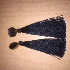 Gold black tassel earrings